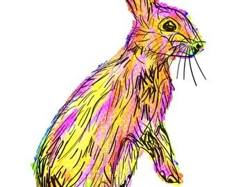 "Rabbit(3) Giclée Print - Cavanata - 8"" X 10"" Rabbit Graphic Fine Art Print, Original Illustration, Animal Art"