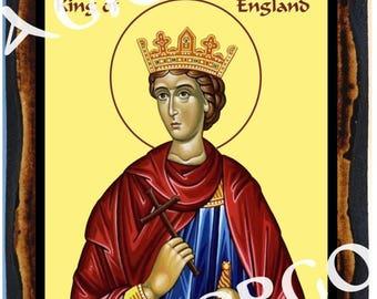Saint Edward the Confessor Roman Christian Catholic Wood Icon Plaque