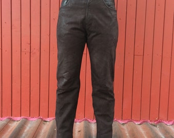 Brown Suede Leather Pants High Waisted Womens Mens Mocca Genuine Leather Trousers Biker Motorcycle Rockstar Medium to Large Size
