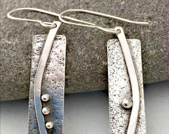 Sterling Silver Earrings, Sticks and Stones, Phoebe Earrings, Dangle Earrings, Rustic Silver Earrings, Hypo Allergenic Earrings, Item #1003