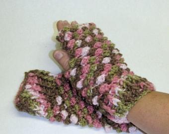 Fingerless gloves, multicolored fingerless gloves, green/pink crochet fingerless gloves, home made gloves