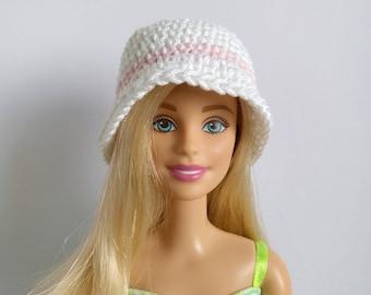 White Barbie doll cloche hat pink stripe, fashion doll hat, clothes