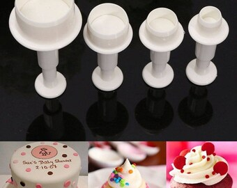 4 pcs/set Circle Plunger Cutter Fondant Cake Decorating Tools, Cookies Tools
