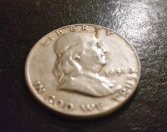 1951 franklin silver US half dollar