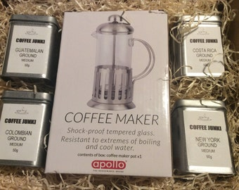 4 x 50g tins Fresh ground Coffee and Cafetiere Gift Set