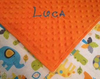 Animal Baby Blanket, Zoo Animals, Minky Baby Blanket or Lovey, Custom Made Blanket, Personalized Baby Blanket