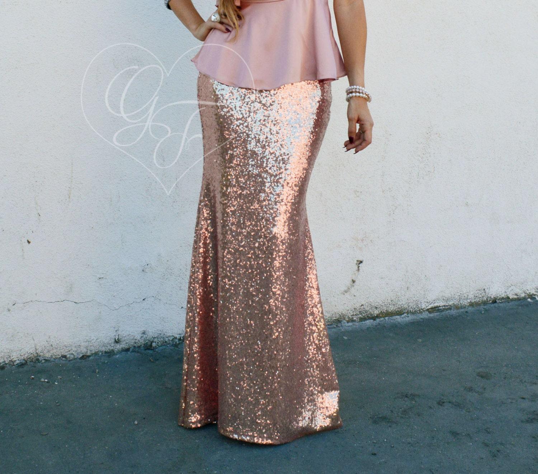 Maxi Skirts - Rose Gold Sequin Skirt - Trumpet Mermaid Maxi - High Waist