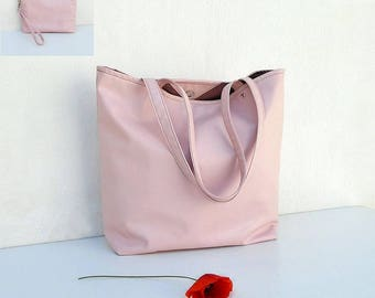 PEACH leather summer bag and clutch, casual pink leather tote, everyday bag, pink powder handbag, large pink bag, evening peach purse