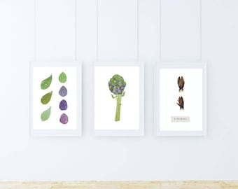 A5, artichoke, Wall art, Decoration, Home decor, Print, Mural Art, botanical, watercolor, herbarium, hand drawn