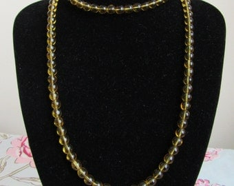 Extra long flapper style bead necklace yellow glass 35 inches 88 cms