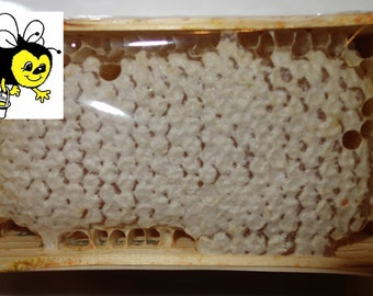 Honeycomb raw honey bee in wood square, 12,3oz (350 gr). Honey with comb. Gift for Christmas! Miele in favo, Wabenhonig