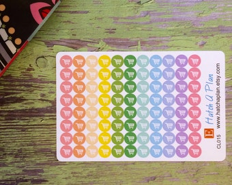 Grocery Shopping Planner Stickers   Shopping Cart   Use In Erin Condren Life Planner   Use In Happy Planner   Errands   Dot Sticker  CL015