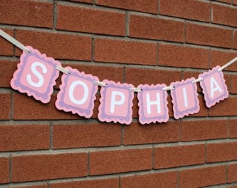 Name Banner - Personalized Pastel Baby Shower Banner - Custom Name Banner - Personalized Gift - Gift for Baby - Baby Girl Nursery Decor