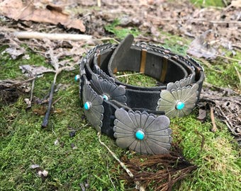 Concho Belt with turquoise accents