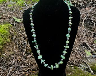 Green Turquoise nugget and silver necklace