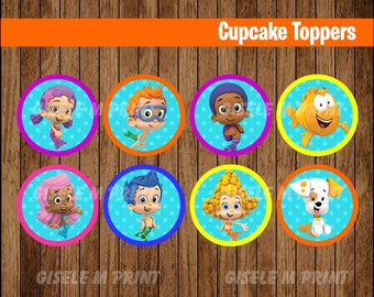 Bubble Guppies cupcakes toppers, Printable Bubble Guppies toppers, Bubble Guppies party toppers instant download