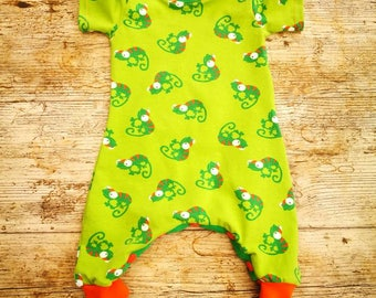 Envelope neck harem romper - green chameleon gecko - cloth bum friendly boys summer outfit, newborn to age 4 made to measure by Loved Garms