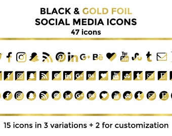 Black Gold Social Media Icons Buttons Website Icons Black Gold Foil Blog Icons Black Gold Social Media Icons Social Media Graphics Twitter