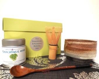 The Essential Artisanal Matcha Tea Set, Tea Gift Set, Matcha Green Tea Gift, Matcha Set, tea gift