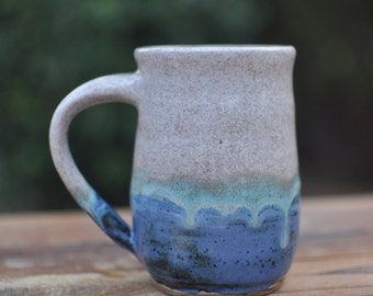 Oceanside Coffee Mug - Handmade Mug - Ceramics Mug - White And Blue Mug - Pottery Mug - Coffee - Tea - 14-Ounce Mug