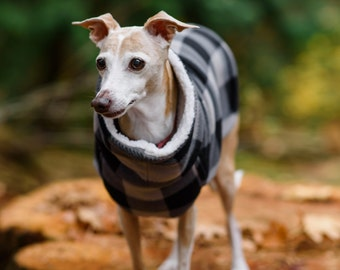 Italian Greyhound Grey Black Lumberjack Check Fleece Jacket. Dog Sweater. Dog Clothes. Dog Clothing. Italian Greyhound Clothing. Dog Apparel