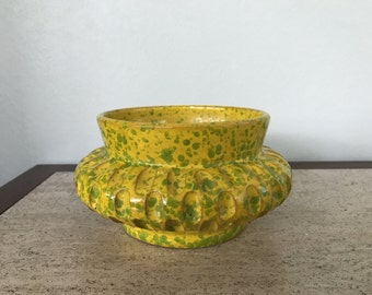 Retro Mod Style Yellow and Green Speckle Ceramic Pottery Planter - Italy