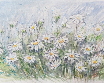 Original Watercolor   Daisies
