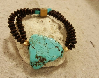 Turquoise howlite and hematite   with dark wood beads stretch bracelet