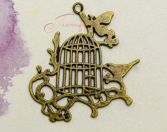 3PCS--55x52mm Large Birdcage charms, Antique bronze Vintage Birdcage Charms Pendants, DIY Findings, Jewelry Making LCM0837