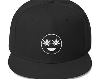 Weed Emoji Snapback - Weed hat - Weed Snapbacks - Stoner Hat - Stoner Gifts - Weed Gifts - Stoner - Cannabis - 420 - 420 Hat