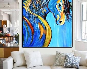 Blue Horse Canvas, Horse Art, Blue Horse, Acrylic Painting on Canvas, Art Gallery, Fine Art, Original Artworks, Animal Painting, Art Lover