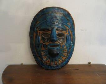 Vintage Pottery Mask Tribal w/ free ship.