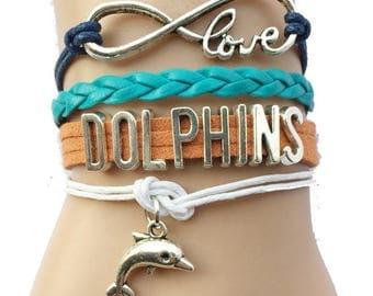 Miami Dolphins Love Friendship Charm Bracelet