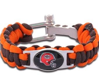 Cleveland Browns Paracord Survival Bracelet with Adjustable Shackle