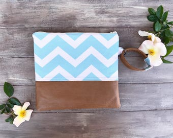 wristlet, clutch, chevron pattern, diaper bag, gift for mom, gift for teen, compact purse, diaper clutch, wipe holder, cell phone case