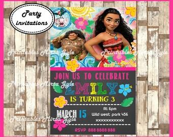 Moana chalkboard Invitation, printable Moana Birthday Invitation, Moana invitation, Moana party invitation