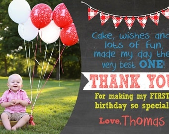 First Birthday thank you cards, first birthday thank you notes