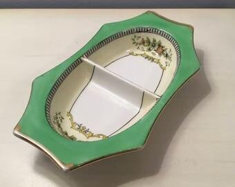 Art Deco Noritake Green ROSEARA Porcelain 2-Part Divided Relish Tray Flat Rim Dish Floral with Gold Trim