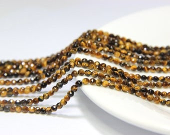 Yellow Tiger eye beads Faceted 2mm 3mm Tiny Tiger Eye Beads Small Yellow Brown Gemstone Beads 2mm 3mm Beads Tiny Spacer Beads Delicate Beads