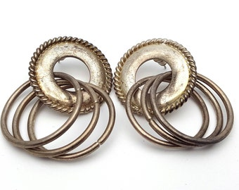 Silver tone Metal Drop Earrings Vintage Punk Rock from the 90s Steampunk Mechanical Three Hoops Intricate Cord Geometrical Grunge Circle