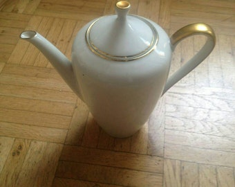 Porcelain Teapot 1950s/60s white with gold