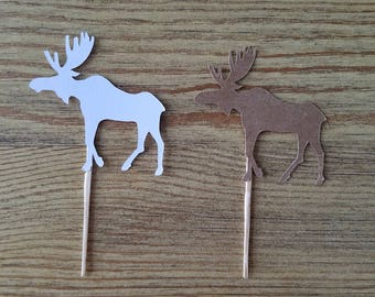 Moose Cupcake Toppers.  Calf Cupcake Toppers.  Moose Food Picks