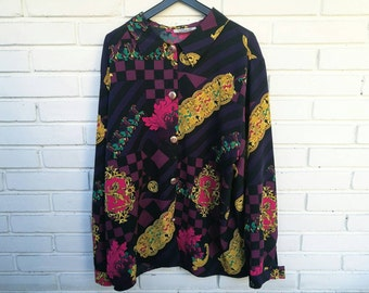 MEDALLION SHIRT / / vintage shiet / / vintage clothing / / oversized / / plus size / / purple / / lion / / unisex