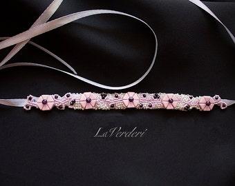 Rose Sash Belt,Beaded Rose Belt,Beaded Rose Bridal Sash Belt,Bridal Accessory,Beaded Pink Belt,Rose Bridal Belt, Embellished Belt,Pink Sash