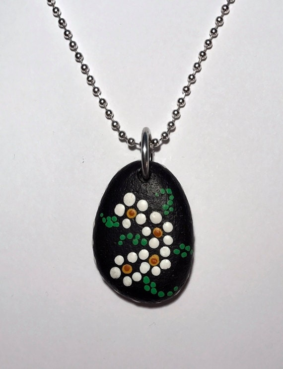 Hand Painted Beach Stone Pendant Necklace Alaskan Art Handmade Natural Jewelry Dot Art