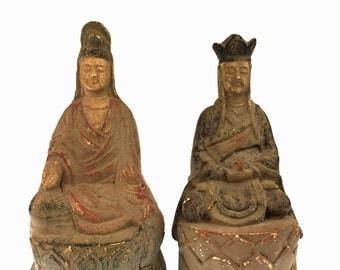 Pair of Chinese Deity Statues: Quan Yin as Man and Women on Lotus Thrones (aka Kwan Yin, Kuanyin, Guanyin), Ying Yang Figurines