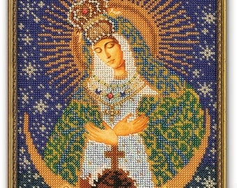 Bead Embroidery Kit DIY Icon Our Lady Of The Gate of Dawn Canvas Glass Beads Guide Beginners