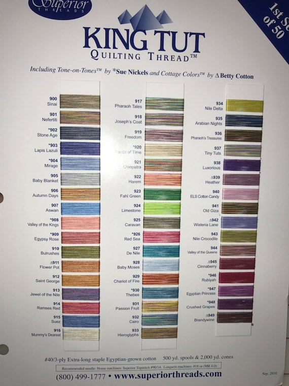 Superior King Tut Quilting Thread Sample Card From