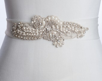 65% Curry wedding belt, tulle Bridal sash, sample sale
