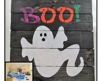 Halloween Craft Kit - DIY Board Sign - BOO